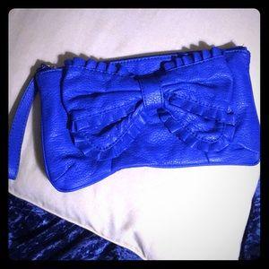 Marc Ecco royal blue ruffle bow clutch wristlet